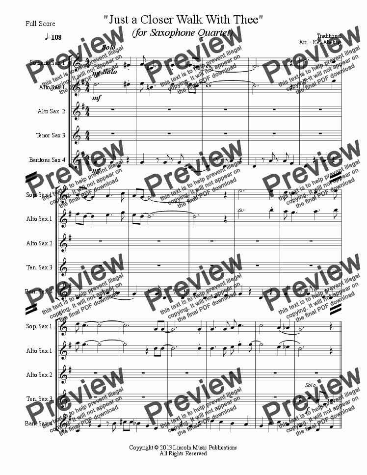 page one of Dixieland - A Closer Walk With Thee (Saxophone Quartet SATB or AATB)