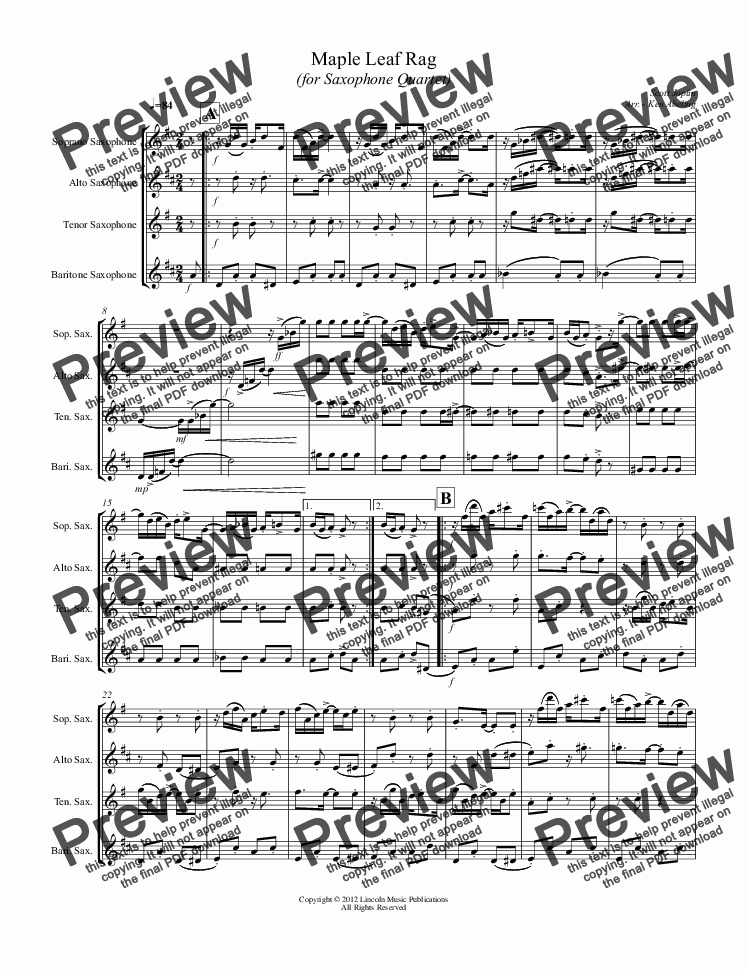 page one of Joplin - Maple Leaf Rag (Saxophone Quartet SATB)