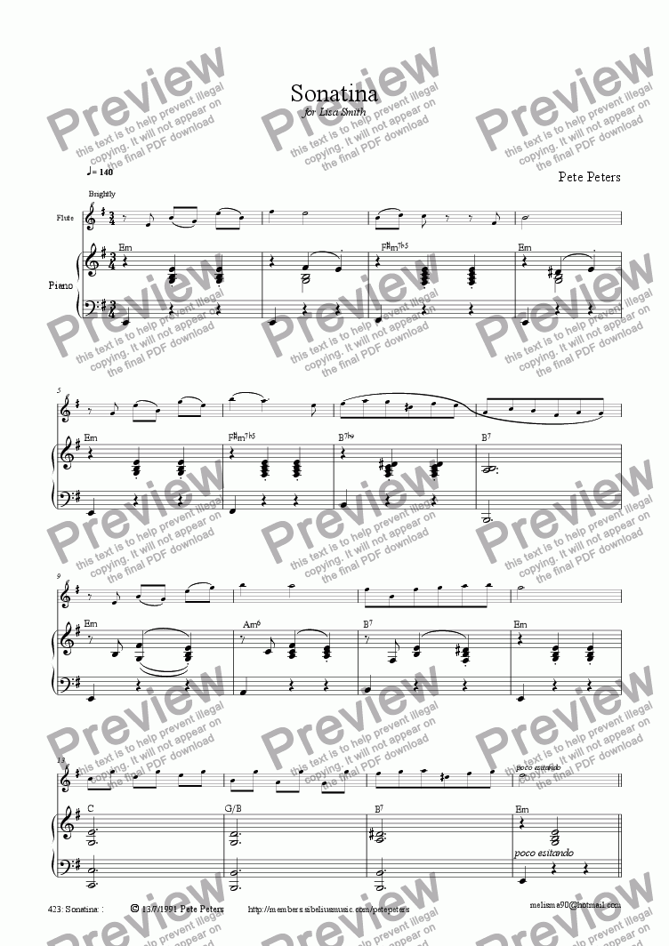page one of Sonatina (solo inst + pno)