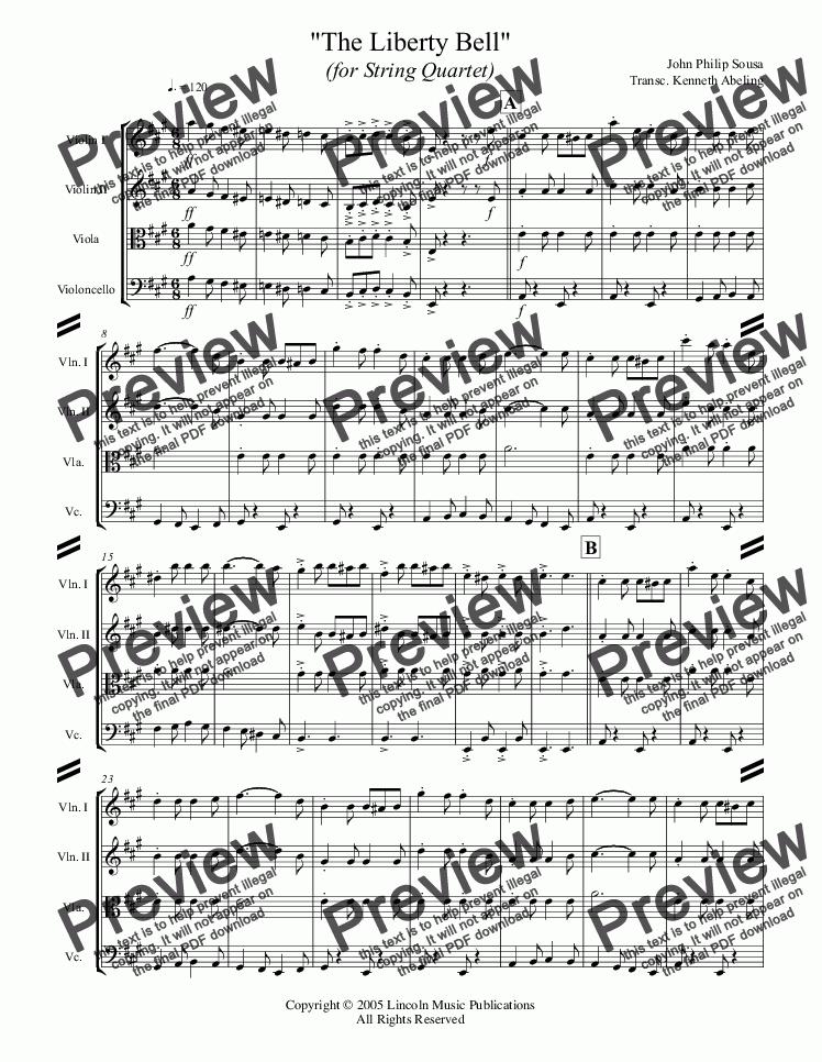 page one of March - The Liberty Bell (String Quartet)