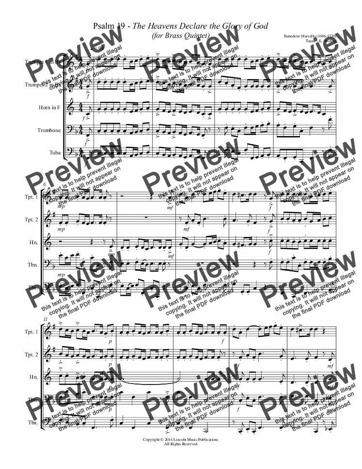 page one of Marcello - Psalm 19 (Brass Quintet)