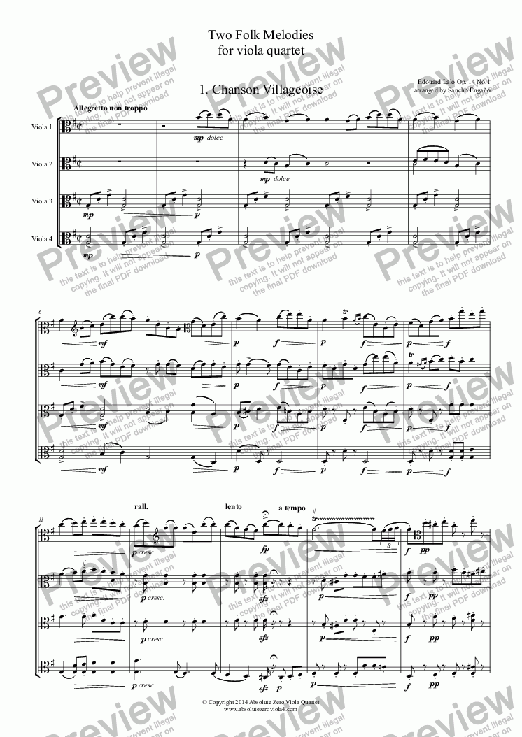 page one of Lalo - TWO FOLK MELODIES - for viola quartetASALTTEXT