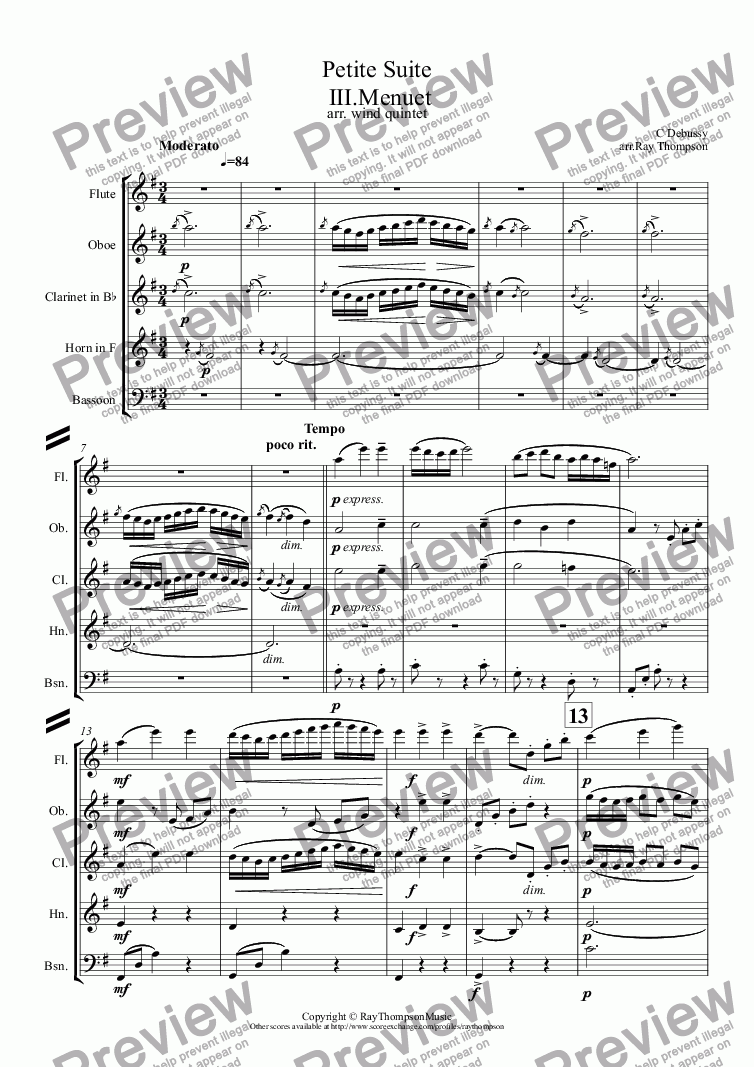 page one of Debussy: Petite Suite: III.Menuet (wind quintet)