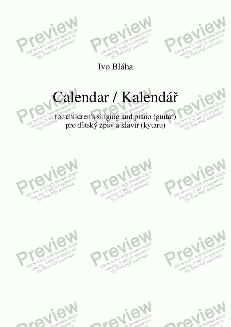 page one of CALENDAR for children's singing with piano/guitar (English words)