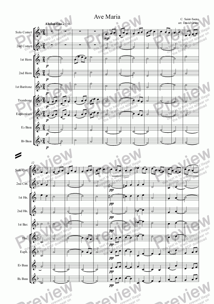 page one of Ave Maria [Saint-Saens]
