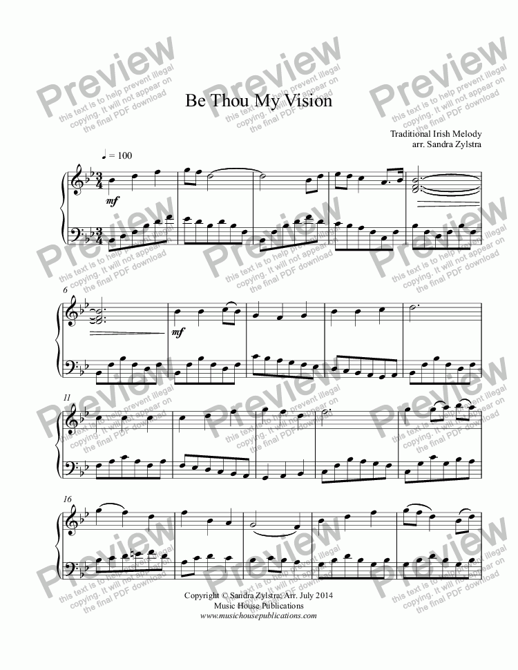 Be Thou My Vision (Piano Solo) - Download Sheet Music PDF file