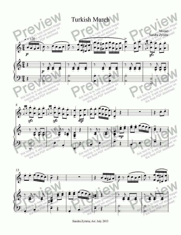 page one of Turkish March (solo instrument & piano)ASALTTEXT