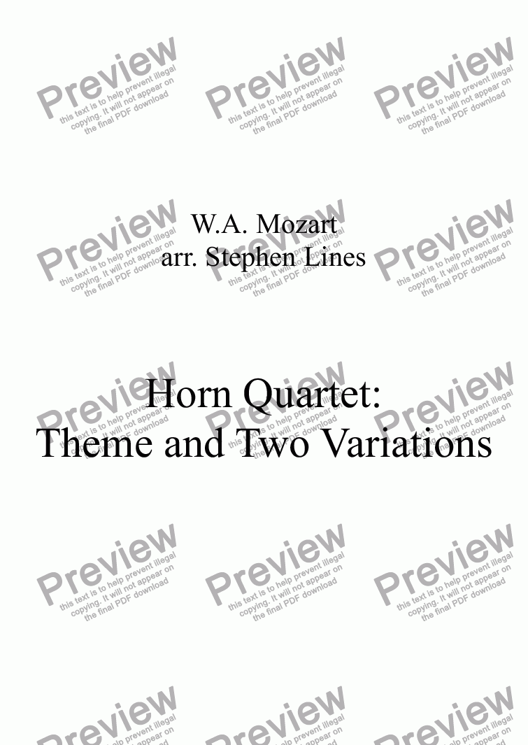page one of Horn Quartet: Theme and Two Variations