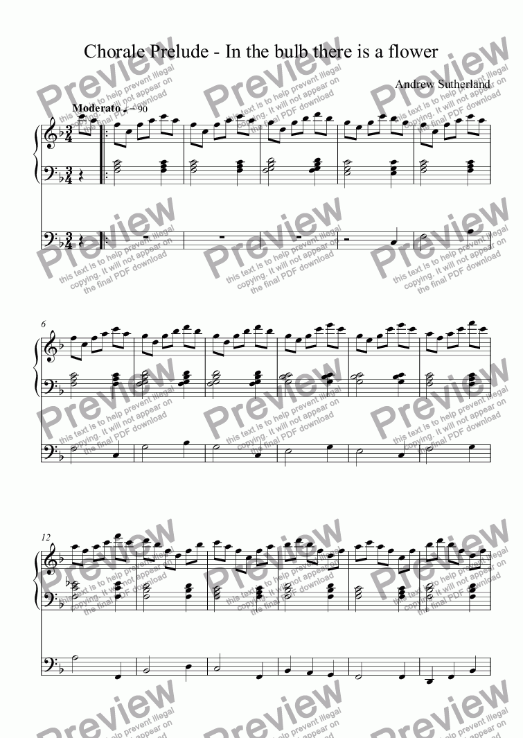 page one of Chorale Prelude - In the bulb there is a flower