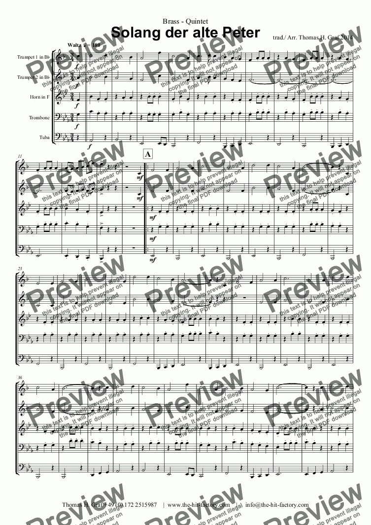 page one of Solang der alte Peter - Brass QuintetASALTTEXT