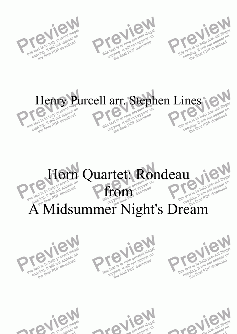page one of Horn Quartet: Rondeau (from a Midsummer Night's Dream)