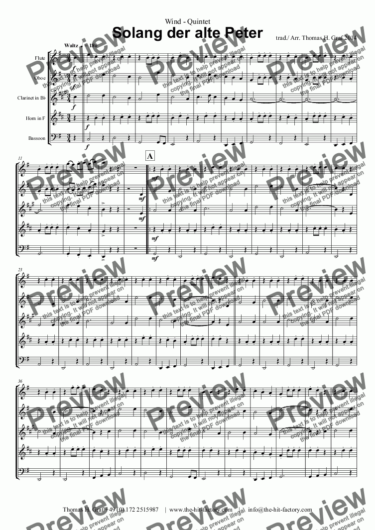 page one of Solang der alte Peter - Wind QuintetASALTTEXT