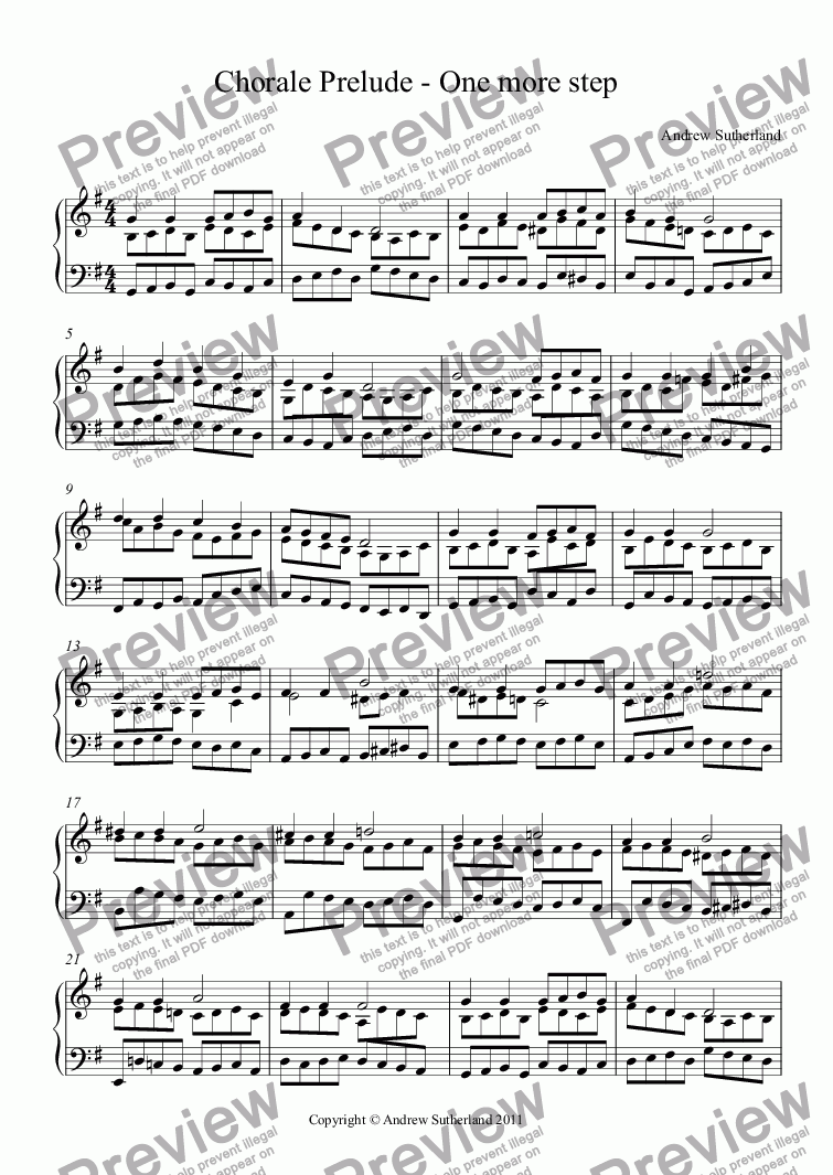 page one of Chorale Prelude - One more step