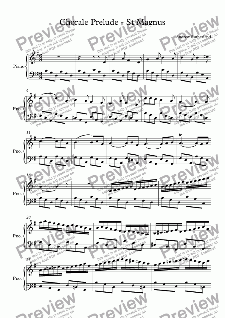 page one of Chorale Prelude - St MagnusASALTTEXT