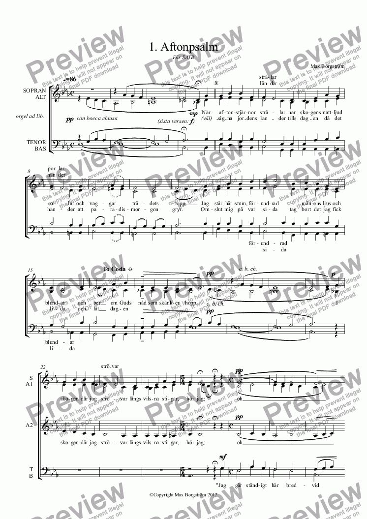 page one of Aftonpsalm