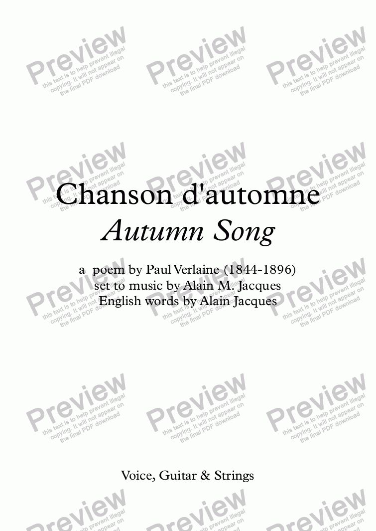 page one of Chanson d'automne (A. Jacques / Verlaine) - bilingual