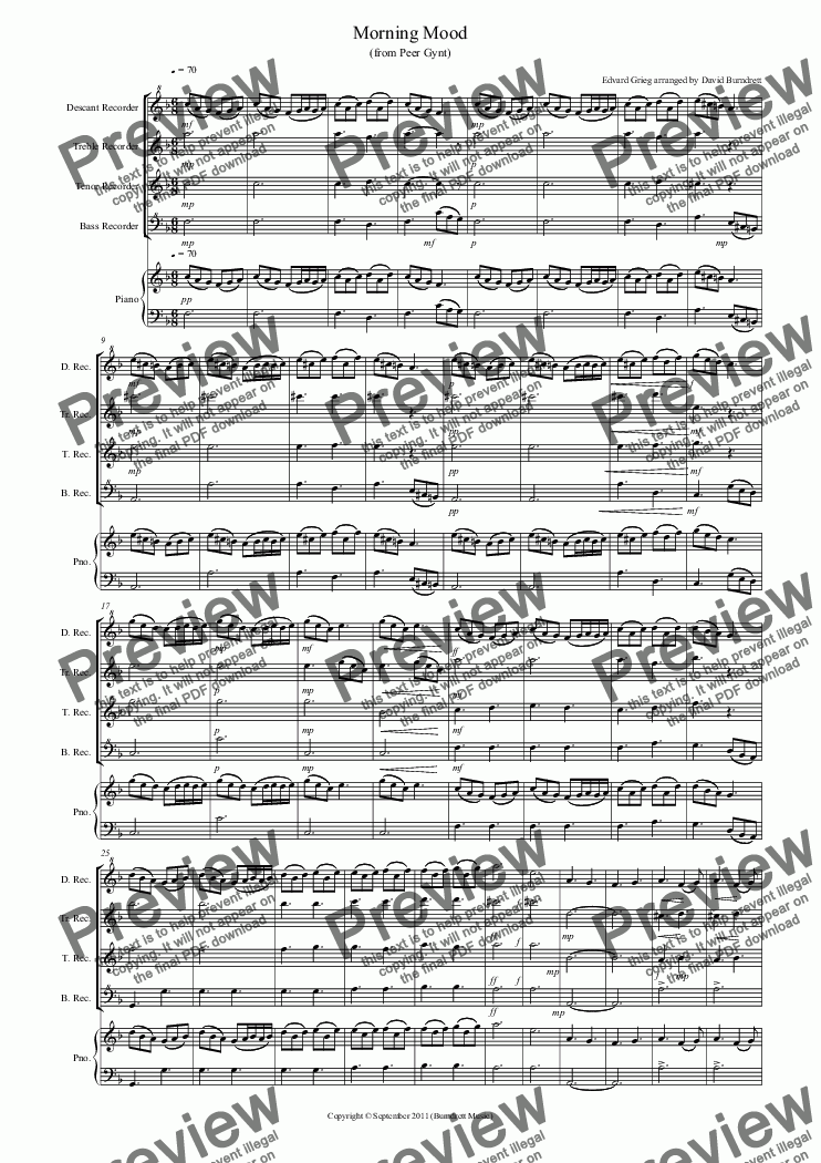 page one of Morning Mood (from Peer Gynt) for Recorder Quartet