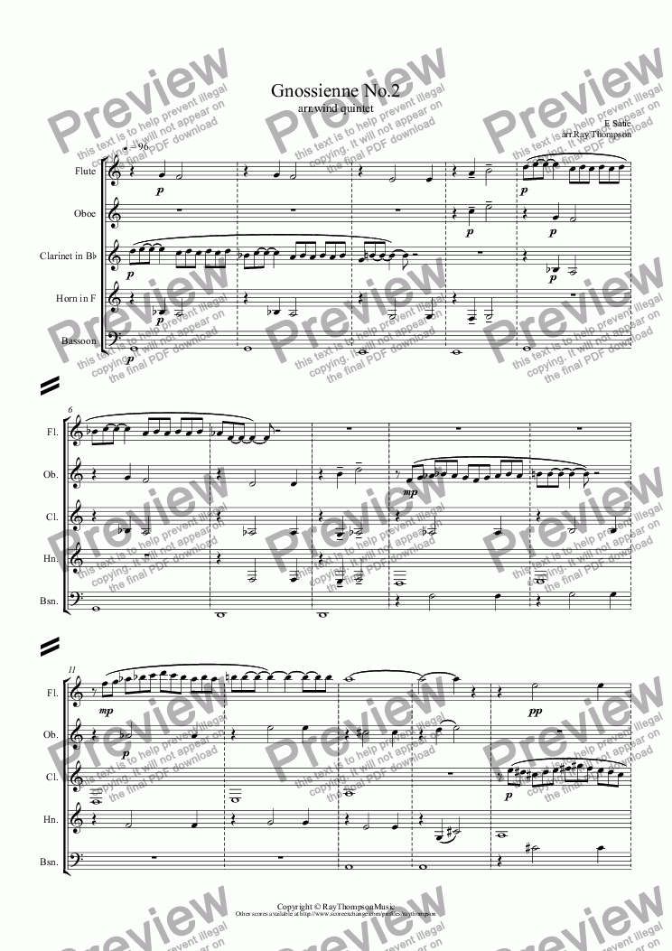 All Music Chords gnossienne no 1 sheet music : Satie: Gnossienne No.2 (wind quintet) - Sheet Music PDF file