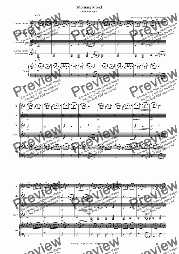 page one of Morning Mood (from Peer Gynt) for Clarinet Quartet