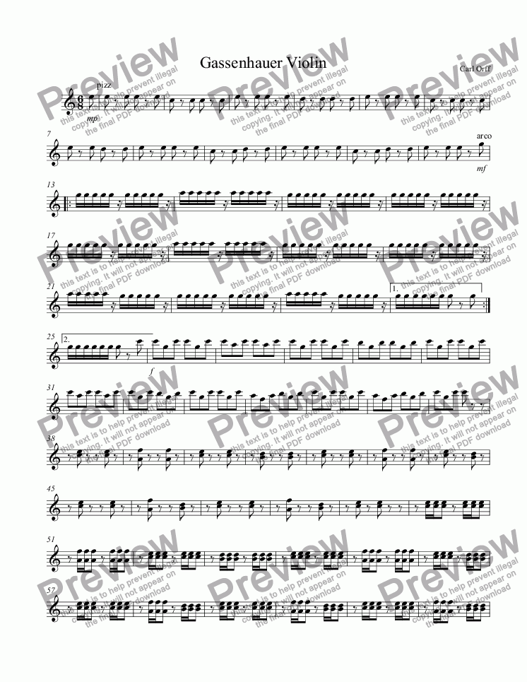 Violin free violin sheet music pop : Gassenhauer Violin - Download Sheet Music PDF file