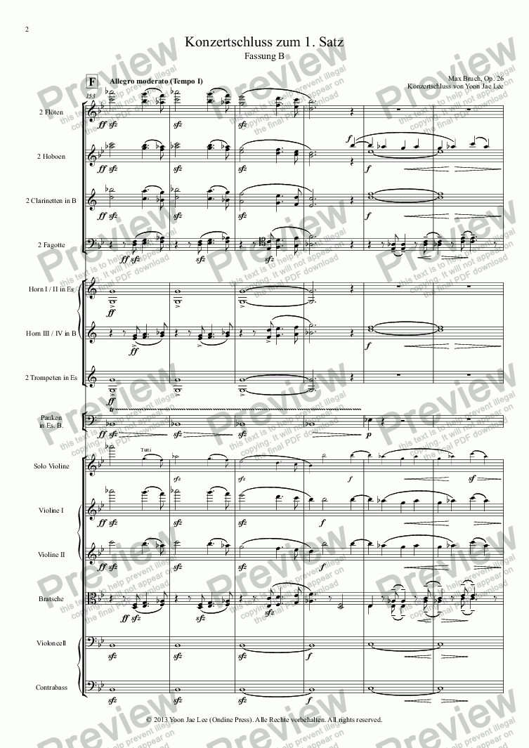 page one of Bruch: Violin Concerto No. 1 in G Minor, Op. 26: I. concert ending by Yoon Jae Lee (Version B for Orchestra)