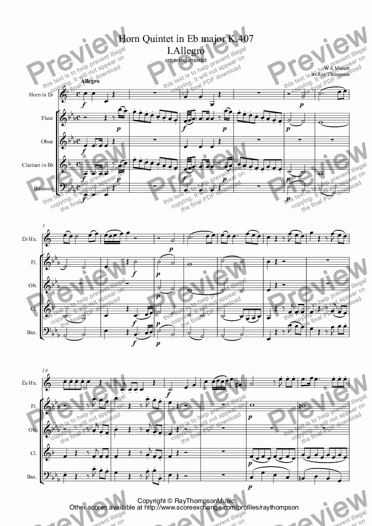 page one of Mozart: Horn Quintet in Eb major K.407 (complete) (arr.wind quintet)ASALTTEXT