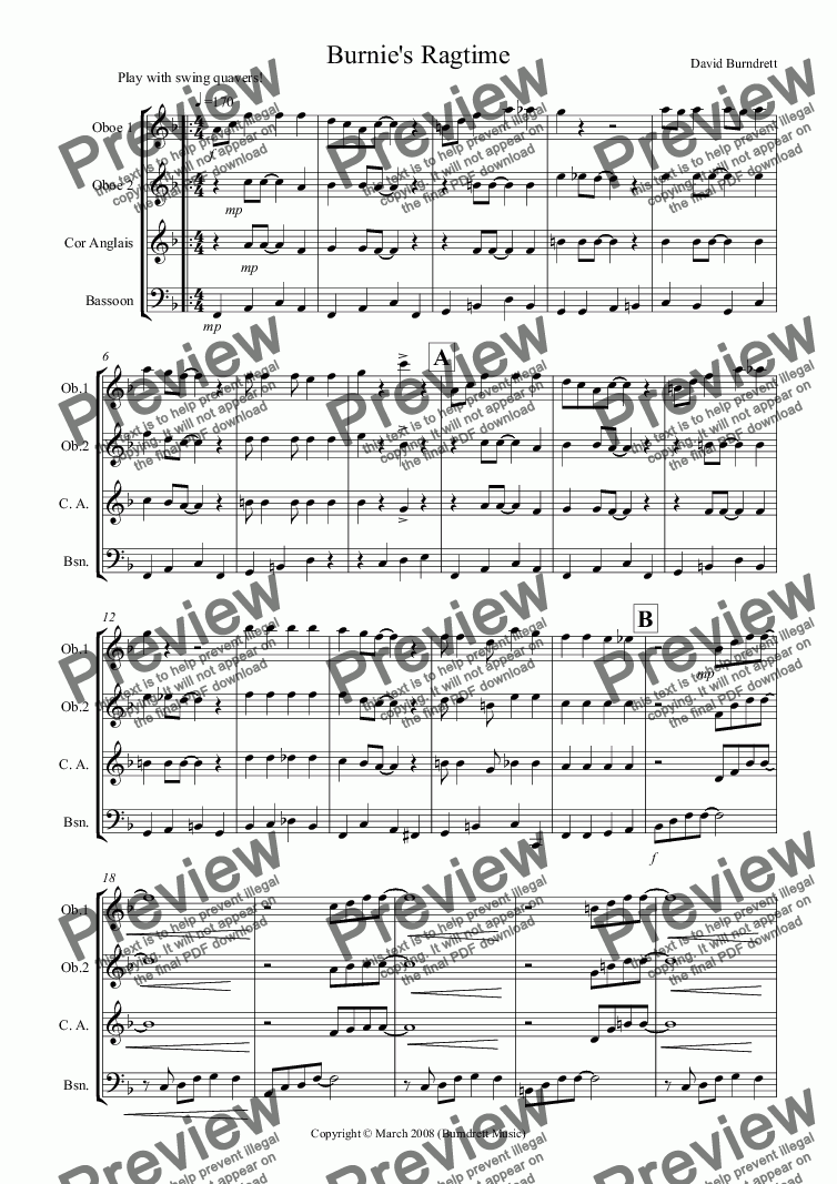 page one of Burnie's Ragtime for Double Reed QuartetASALTTEXT