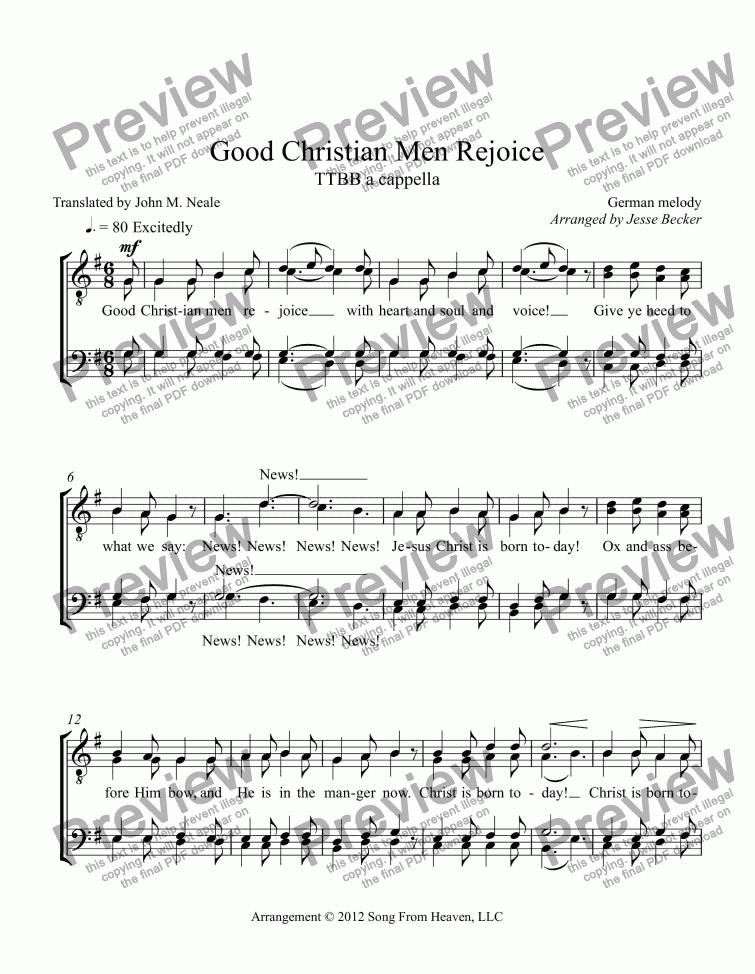 All Music Chords free christian sheet music downloads : Good Christian Men Rejoice - a cappella men's chorus - PDF