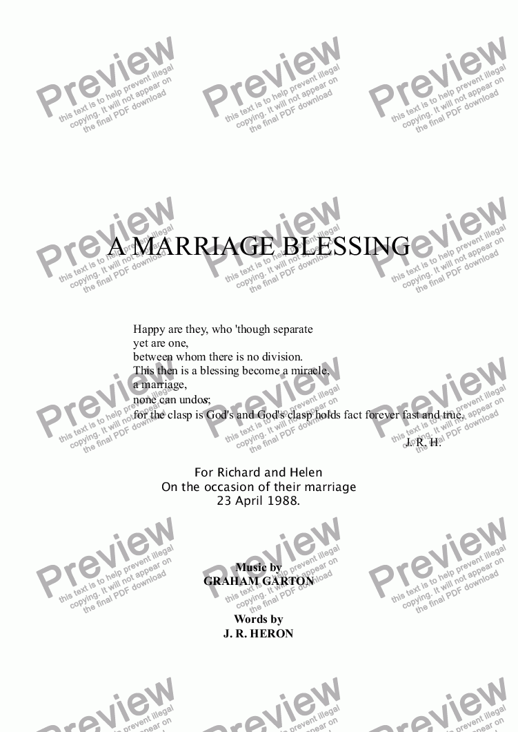 page one of BLESSING - A MARRIAGE BLESSING Unaccompanied Vocal Duet for a Wedding