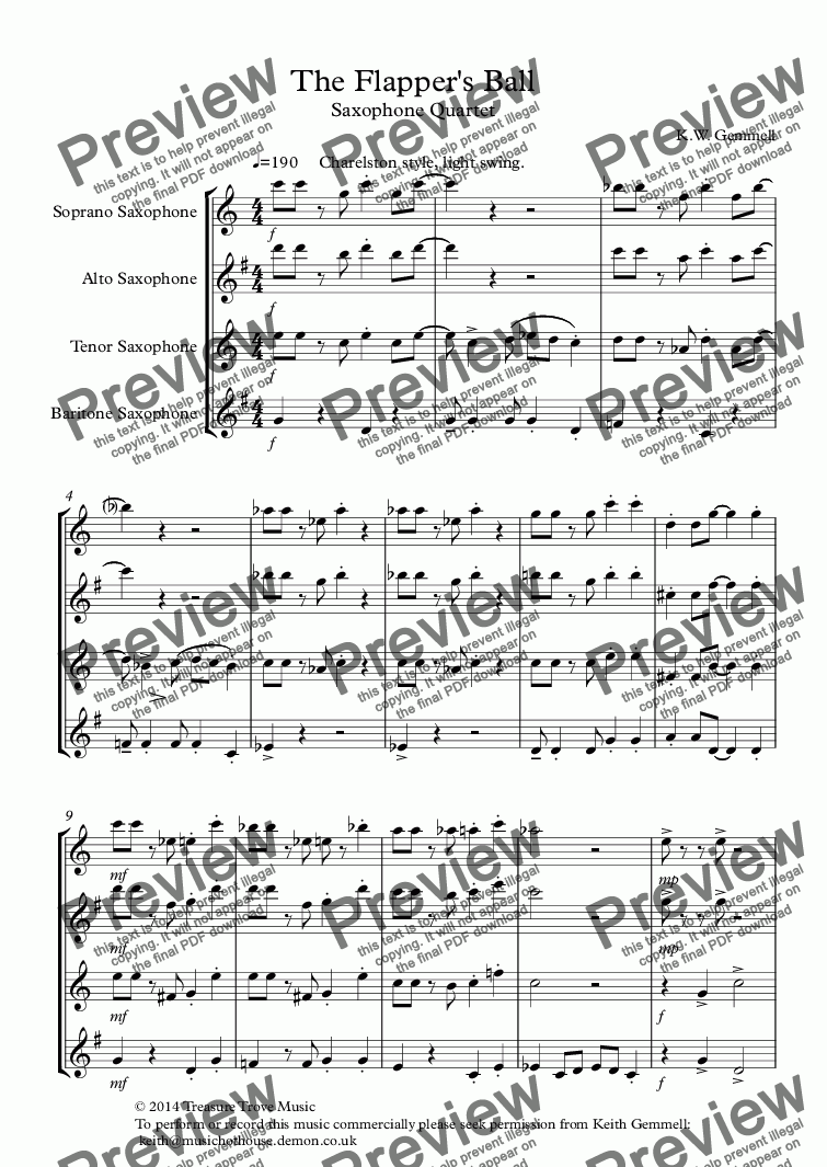 page one of The Flapper's Ball (1920s style): Saxophone Quartet
