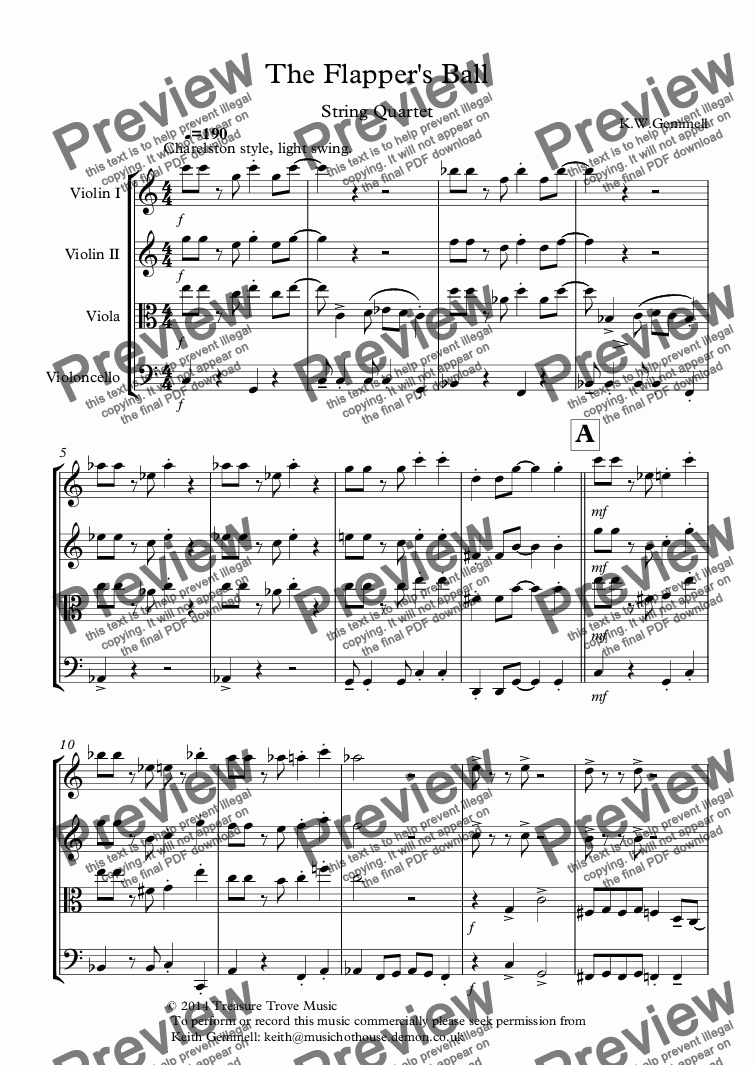 page one of The Flapper's Ball (1920s style): String Quartet