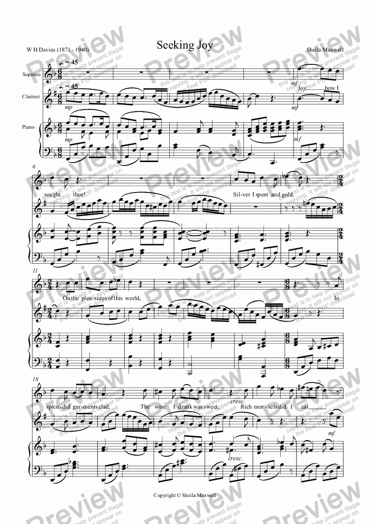 page one of Seeking Joy,   for soprano, clarinet and piano