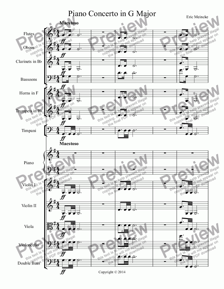 page one of Piano Concerto in G Major