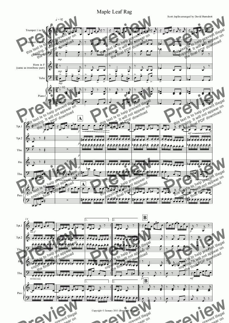 page one of Maple Leaf Rag for Brass Quartet