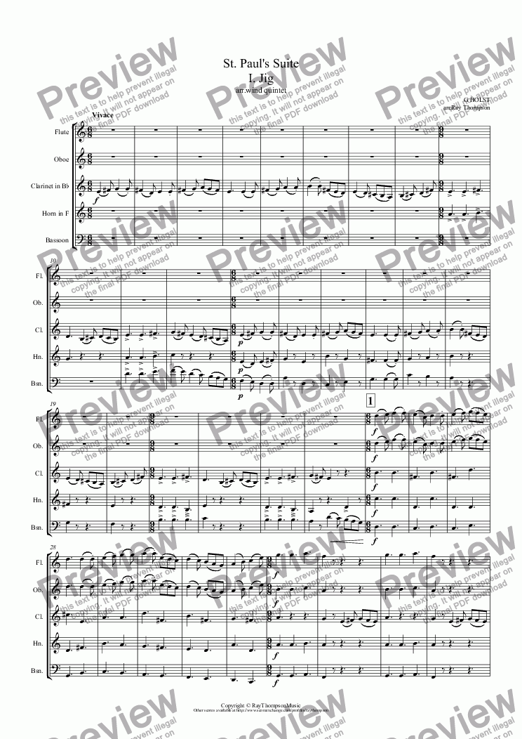 page one of Holst: St. Paul's Suite I. Jig (arr. wind quintet)