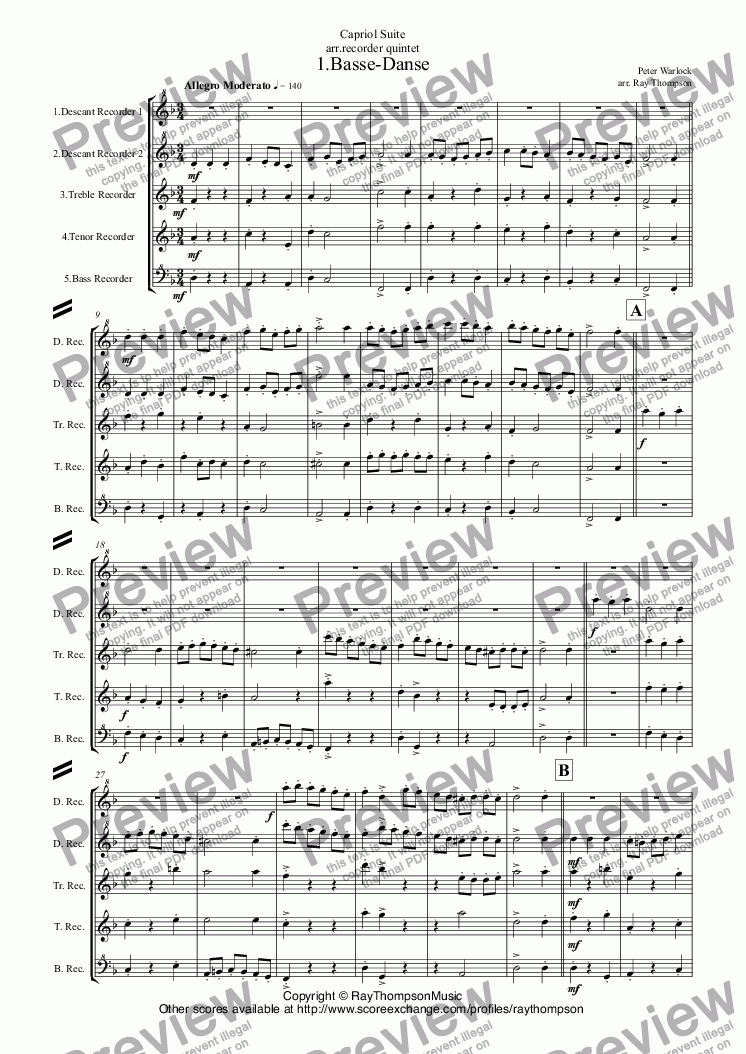 page one of Capriol Suite: Complete:(all 6 mvts:1.Basse-Danse 2.Pavane 3.Tordion 4.Bransles 5.Pied en L'air 6.Mattachins) (arr.recorder quintet)ASALTTEXT