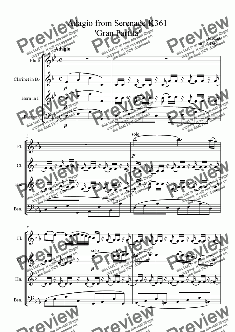 page one of Adagio from Serenade K361 'Gran Partita'ASALTTEXT