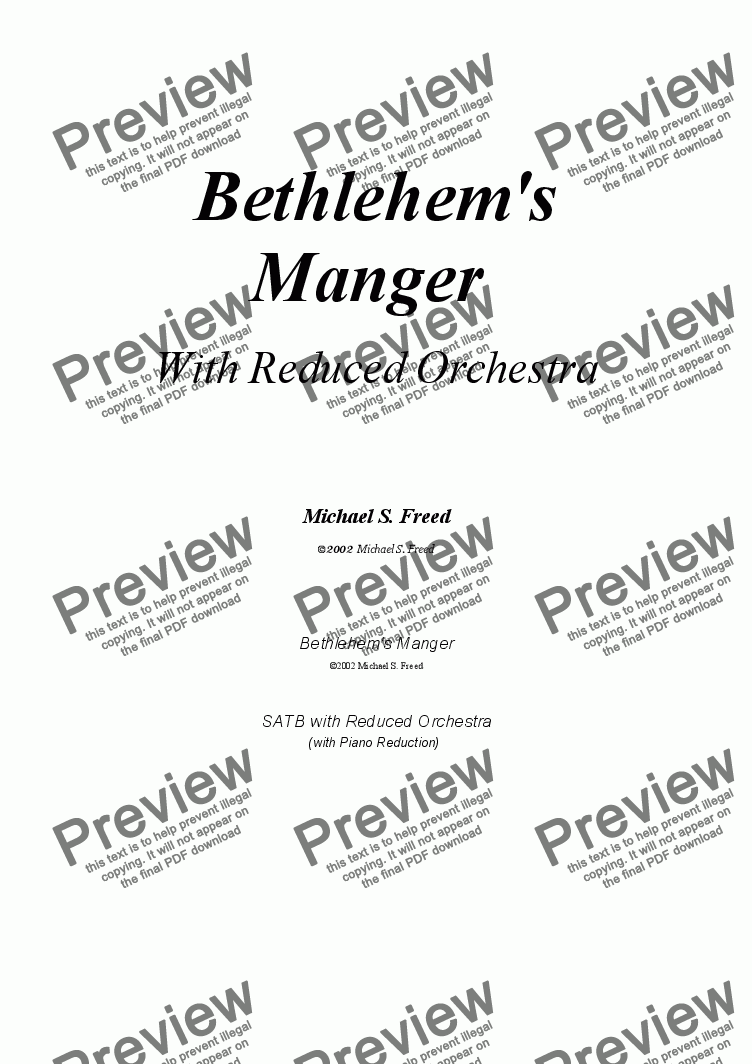 page one of Bethlehem's Manger, Reduced OrchestraASALTTEXT