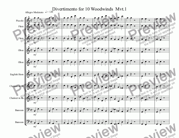 page one of Divertimento for 10 Woodwinds  Mvt.1
