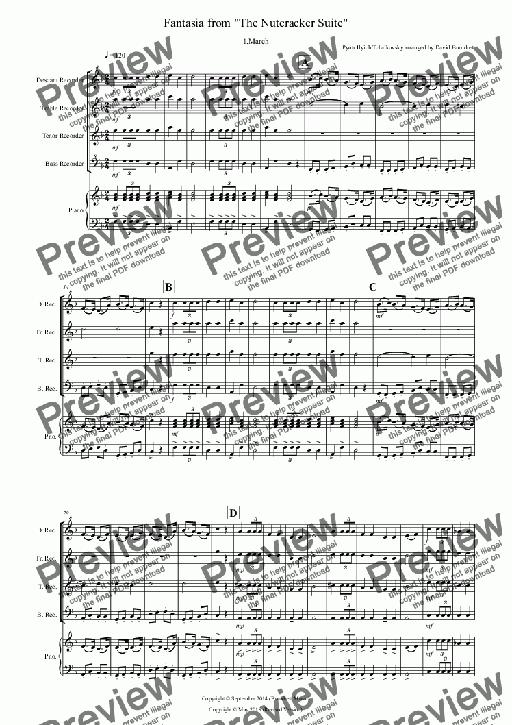 page one of March (Fantasia from the Nutcracker) for Recorder Quartet