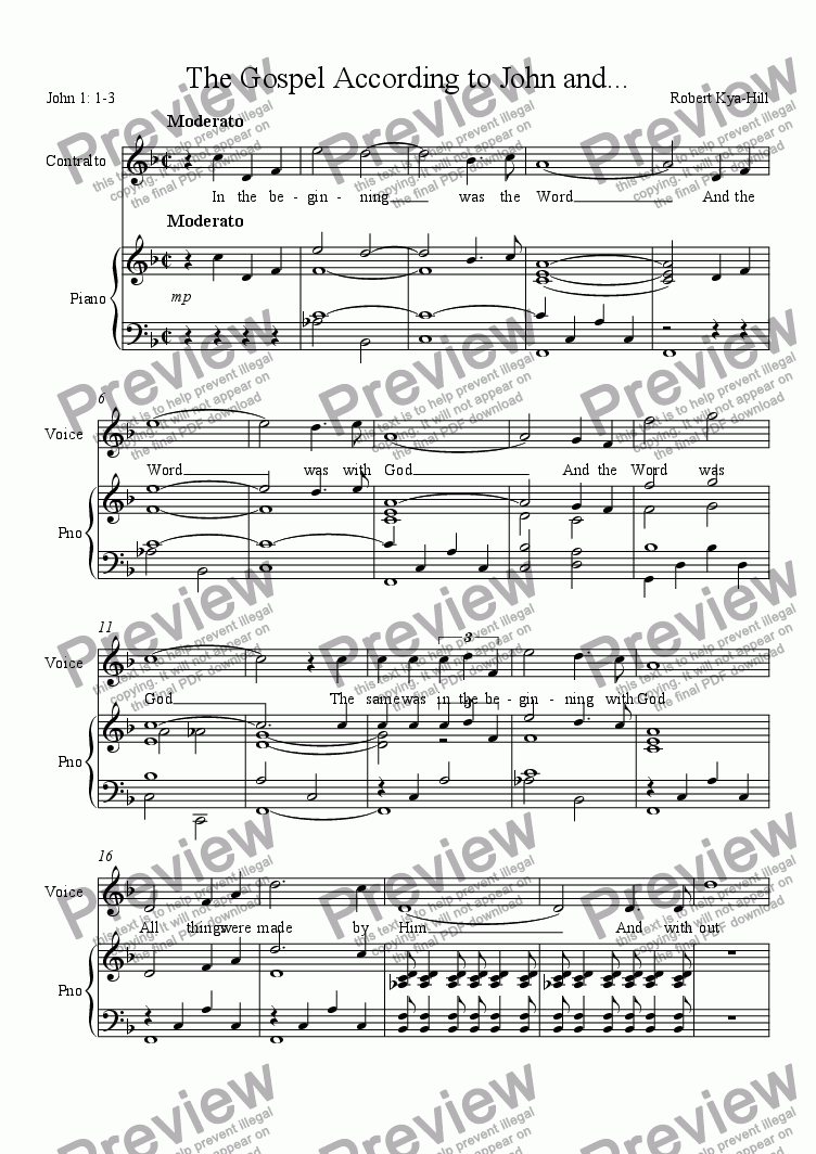 page one of The Gospel According to John and...[Contralto Solo]ASALTTEXT