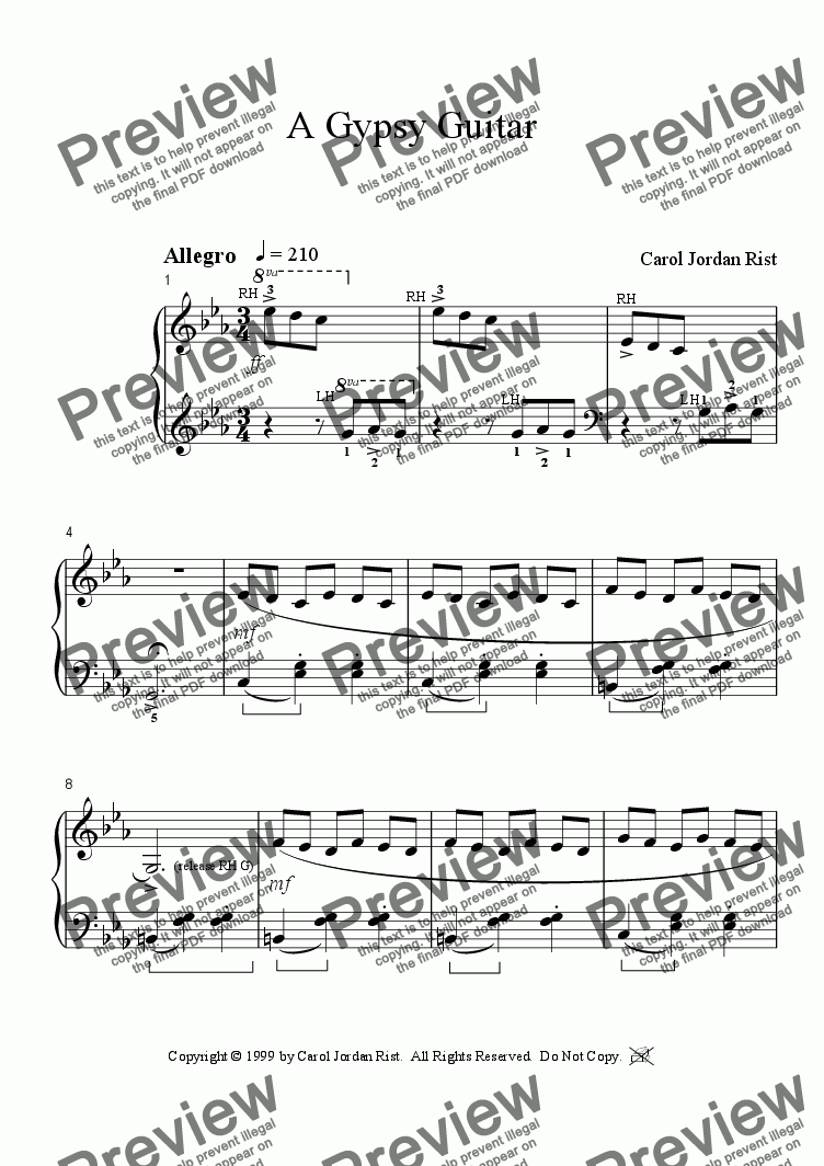 page one of Gypsy Guitar (piano)
