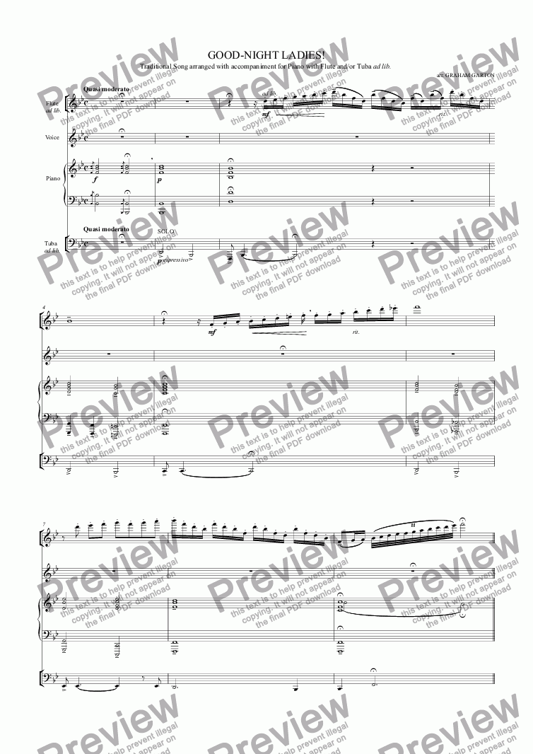 page one of SONG - GOOD-NIGHT LADIES! Traditional tune with Piano and/or Flute and Tuba ad lib. A party piece for the end of a Dinner