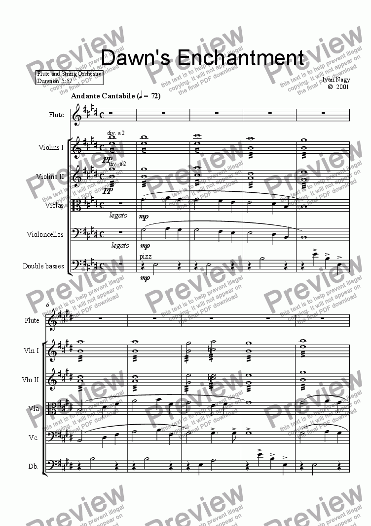 page one of DAWN'S ENCHANTMENT (Flute and String Orchestra)ASALTTEXT