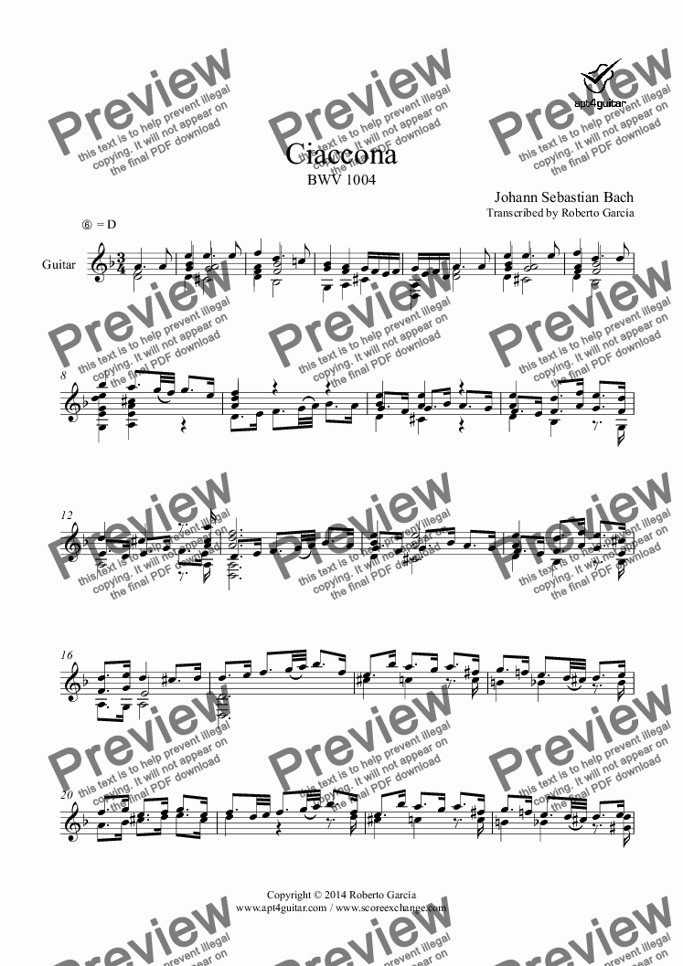 page one of Ciaccona BWV 1004 for solo guitar