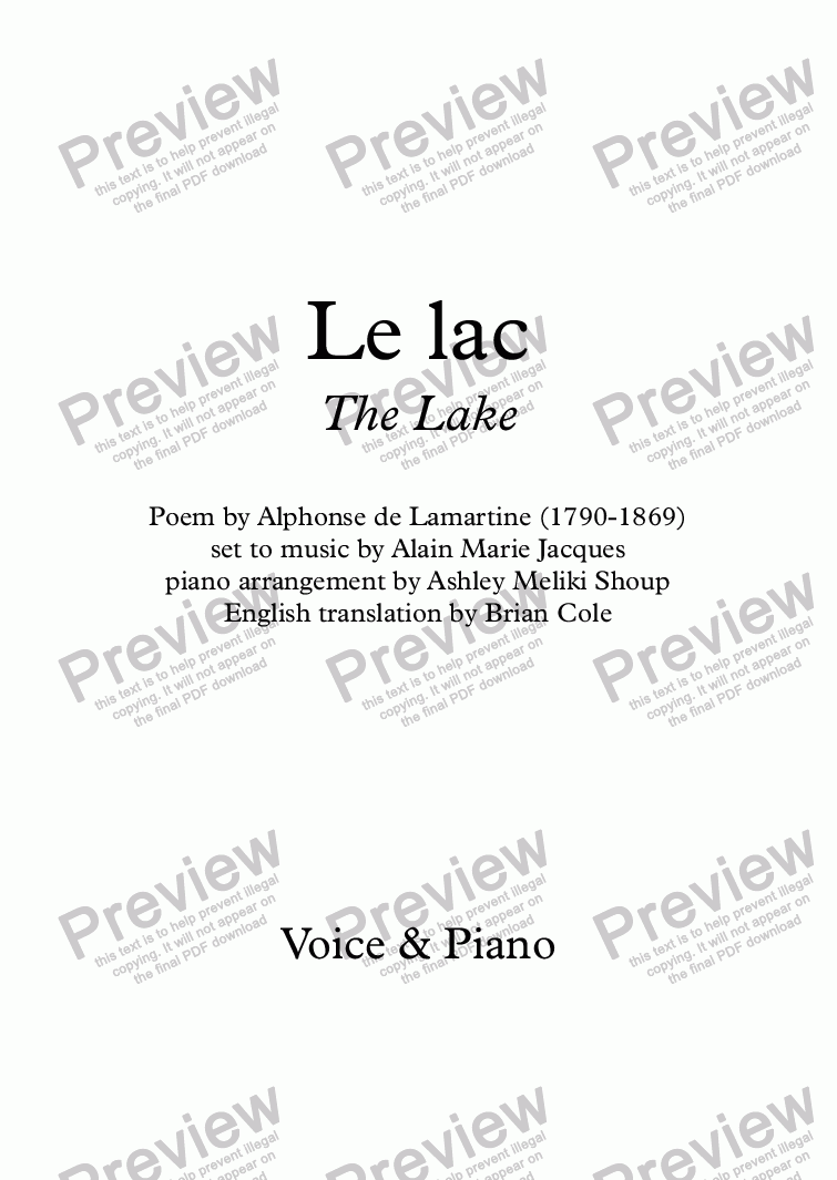 page one of Le lac (A. Jacques / Lamartine) - Voice & piano - bilingual