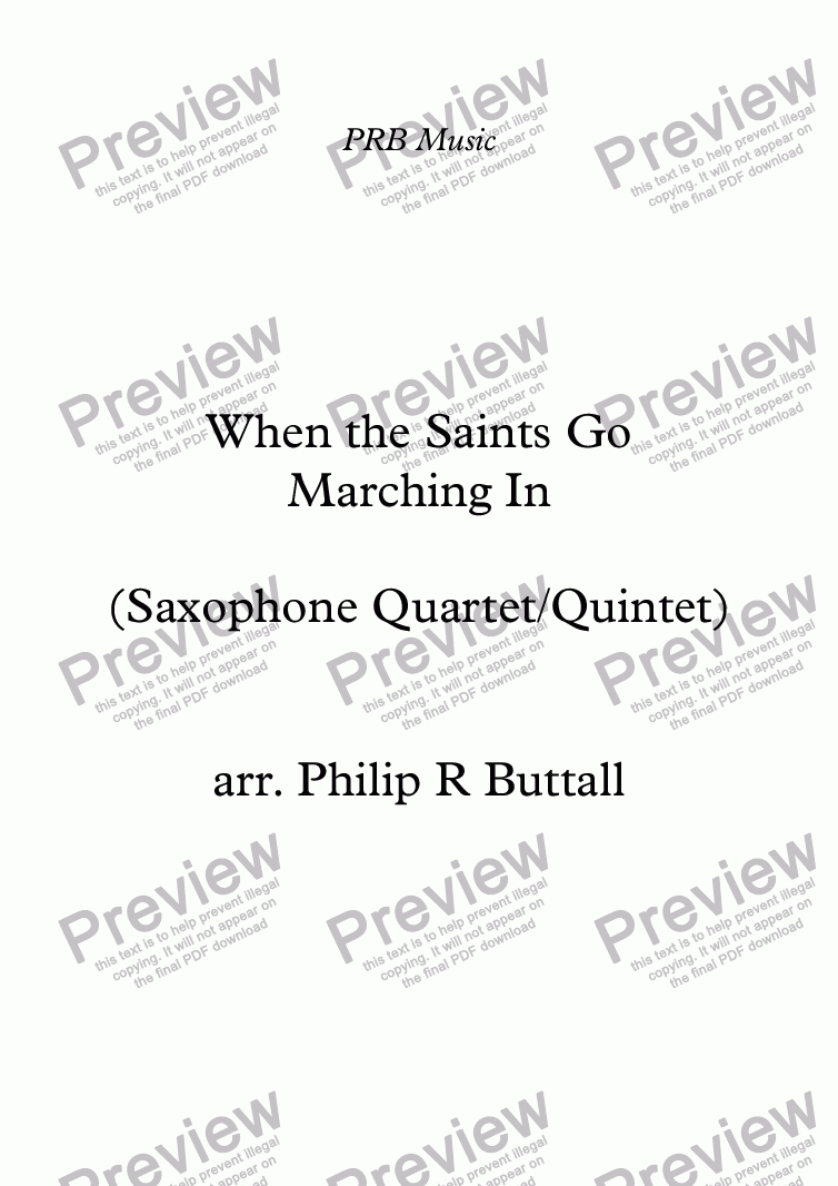 page one of When the Saints Go Marching In (Saxophone Quartet / Quintet)