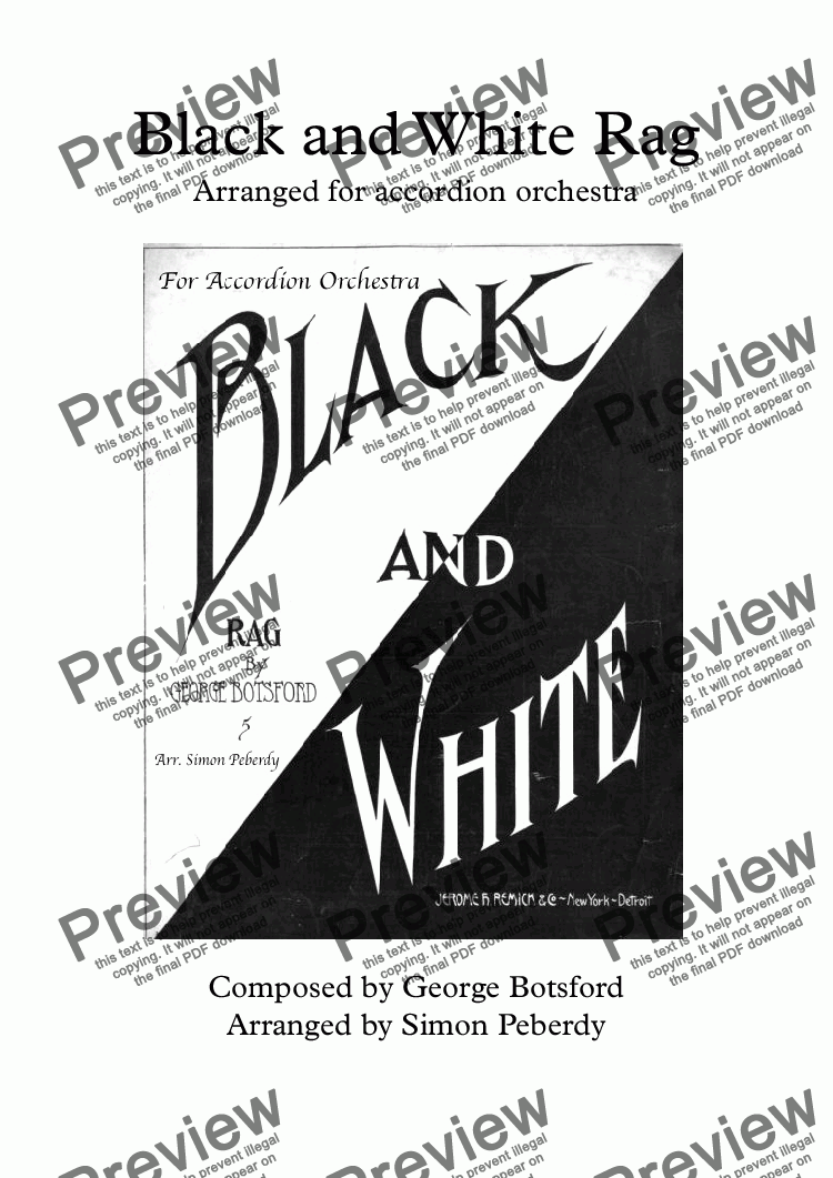 page one of Black and White Rag Arranged for accordion orchestra & bass