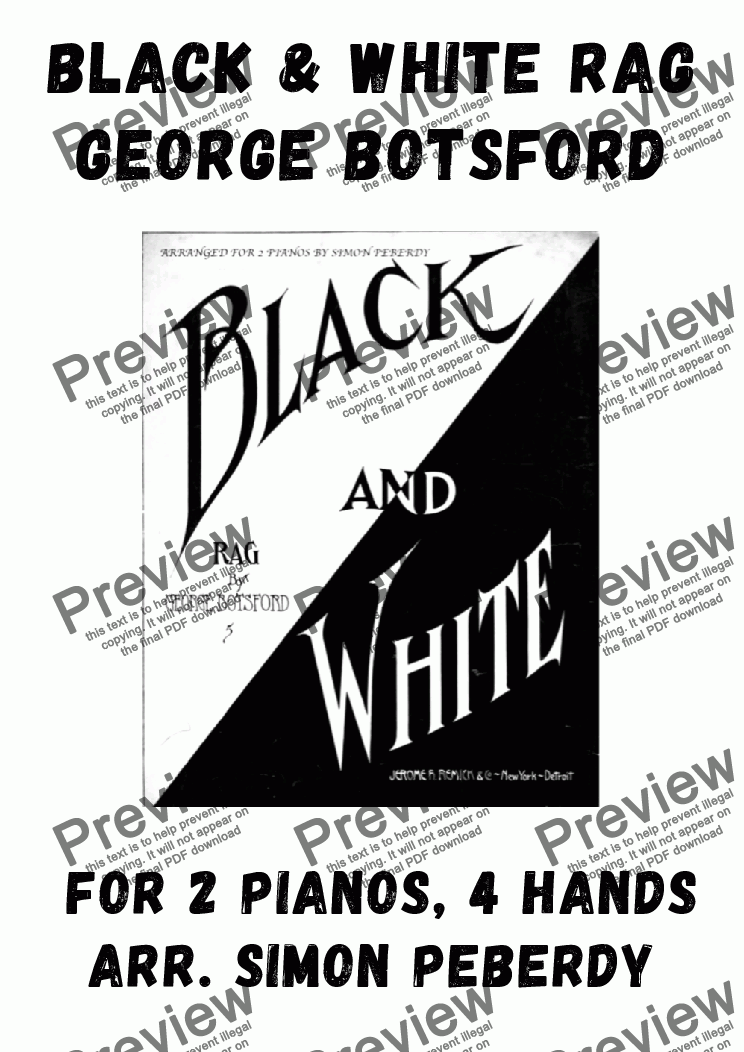 page one of Black and White Rag arranged for 2 pianos
