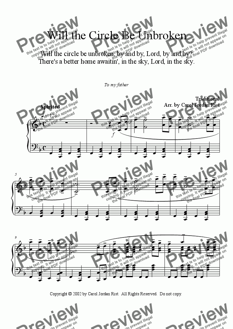 page one of Will The Circle Be Unbroken (piano)